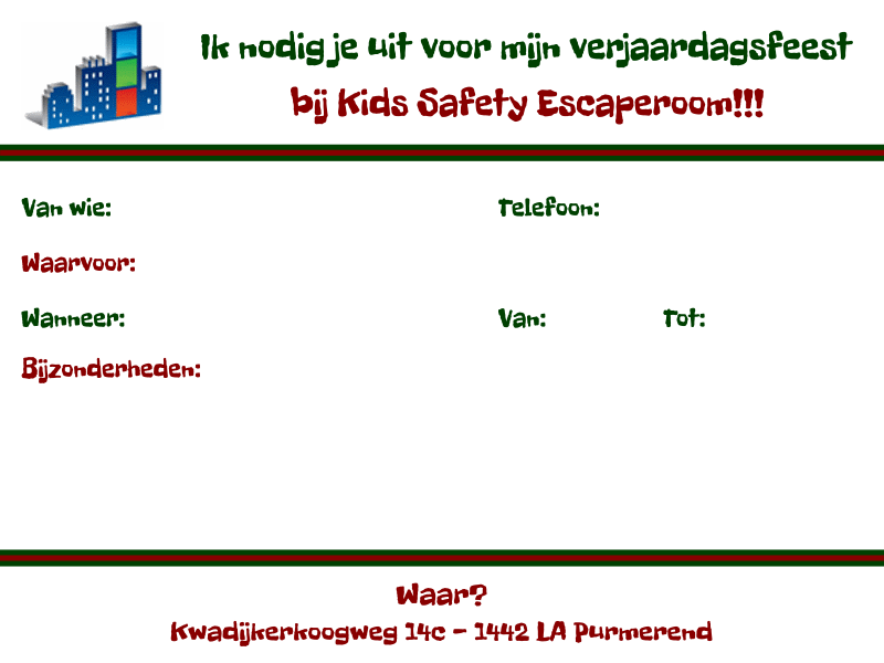 uitnodiging kids safety escaperoom